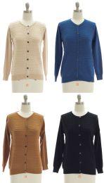 24 Units of Stripe Knit Sweater Cardigan - Assorted - Womens Sweaters & Cardigan