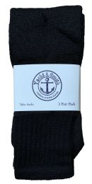 60 Units of Yacht & Smith Kids Solid Tube Socks Size 6-8 Black BULK PACK - Boys Crew Sock