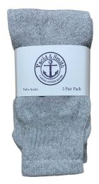60 Units of Yacht & Smith Kids Solid Tube Socks Size 6-8 Gray BULK PACK - Boys Crew Sock