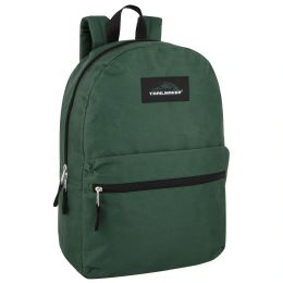 24 Units of Trailmaker Classic 17 Inch Backpack Solid Green - Backpacks 17""
