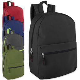 24 Units of 17 Inch Solid Backpack - 5 Colors - Backpacks 17""