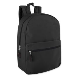 24 Units of 17 Inch Solid Backpack In Black - Backpacks 17""