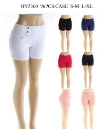 24 Units of Womens Fashion Solid Color Shorts With Gold Buttons In Assorted Color - Womens Shorts