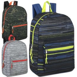 """24 Units of 17 Inch Printed Backpacks - Boys 3 Color - Backpacks 18"""" or Larger"""