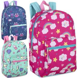 24 Units of 17 Inch Printed Backpacks - Girls Assortment - Backpacks 17""