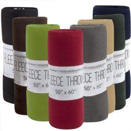"24 Units of Fleece Blankets 50"" X 60"" - 8 Assorted Colors - Fleece & Sherpa Blankets"