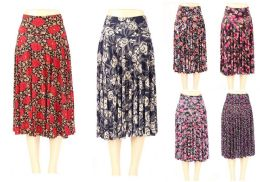 24 Units of Womens A Line Floral Skirt Assorted Pattern - Womens Skirts