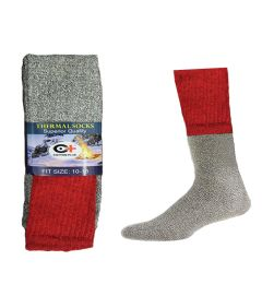 240 Units of Mens Thermal Boot Socks Size 10-15 Extra Long And Warm In Red - Mens Thermal Sock