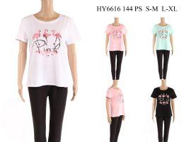 24 Units of Womens Flamingo Tee Shirt - Women's T-Shirts