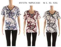 48 Units of Womens Printed Floral Tee Shirt - Women's T-Shirts