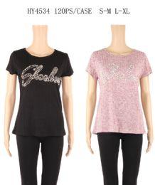 24 Units of Womens Summer Studded Tee - Women's T-Shirts