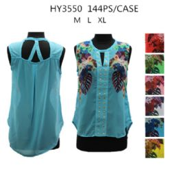 36 Units of Womens Fashion Summer Printed Top Assorted Colors - Womens Fashion Tops