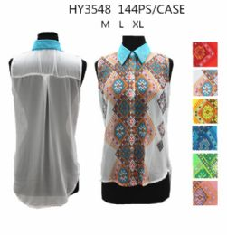 36 Units of Womens Fashion Summer Button Down Printed Shirt - Womens Fashion Tops