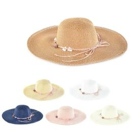 30 Units of Womens Paper Sun Hat With Tied Rope Assorted Color - Sun Hats