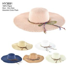 30 Units of Womens Paper Sun Hat With Colored Rope Assorted - Sun Hats