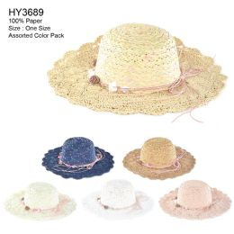 30 Units of Womens Paper Sun Hat With Flower Rope Assorted Color - Sun Hats