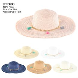 30 Units of Womens Paper Sun Hat With Chain And Tassel - Sun Hats