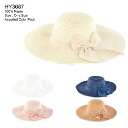 30 Units of Womens Paper Sun Hat With Bow - Sun Hats