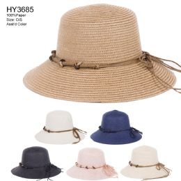 30 Units of Womens Paper Bucket Hat With Rope Tie - Sun Hats