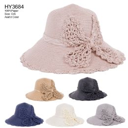 30 Units of Womens Paper Bucket Hat With Bow - Sun Hats