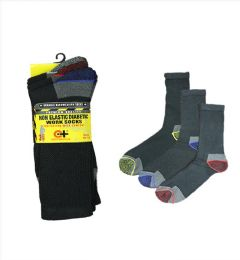96 Units of Men's Assorted Color Diabetic Work Sock - Men's Diabetic Socks