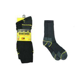 120 Units of Men's Black Crew Work Socks - Mens Crew Socks