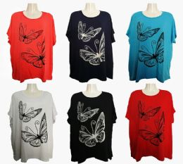 48 Units of Womens Butterfly Tee Shirt Assorted Color - Women's T-Shirts
