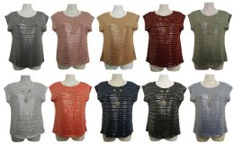 48 Units of Womens Assorted Color Shimmer Tee With Neckace - Women's T-Shirts