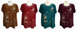 48 Units of Womens Assorted Color Floral Tee Shirt - Women's T-Shirts
