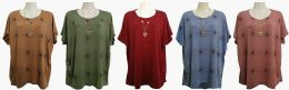48 Units of Womens Assorted Color Tee With Necklace - Women's T-Shirts