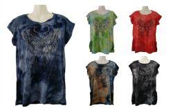 48 Units of Womens Assorted Color Tye Dye Butterfly Tee Shirt - Women's T-Shirts