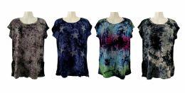 48 Units of Womens Assorted Color Tye Dye Star Tee Shirt - Women's T-Shirts