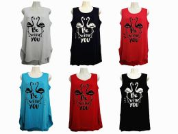 48 Units of Womens Assorted Color Be With You Tank Top - Womens Fashion Tops
