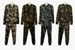 48 Units of Athletic Full Zip Camo Jogger Sweatsuit Set Casual Sports Tracksuit - Womens Active Wear