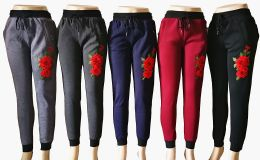 48 Units of Womens Winter Rose Joggers - Womens Pants