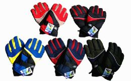 120 Units of Winter Ski And Snowboard Glove With Wrist Leashes Assorted Colors - Winter Gloves