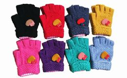 240 Units of Kids Winter Warm Heart Gloves Assorted Colors - Kids Winter Gloves