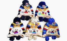 120 Units of Winter Warm Kids Rein Deer Hat With Earcuff Cap And Pom Pom - Winter Hats