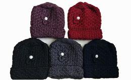 120 Units of Womens Flower Knit Crochet Beanie Hat Winter Warm - Winter Beanie Hats