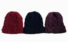 120 Units of Womens Flower Knit Beanie Hat Shimmer Winter Warm - Winter Beanie Hats