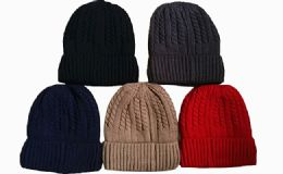 72 Units of Winter Warm Beanie Hat Assorted Colors - Winter Beanie Hats