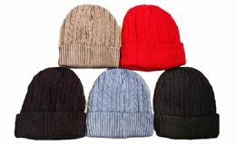 144 Units of Winter Warm Beanie Hat Assorted Colors - Winter Beanie Hats