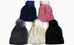 144 Units of Winter Warm Shimmer Beanie Hat With Pom Pom Assorted Colors - Winter Beanie Hats