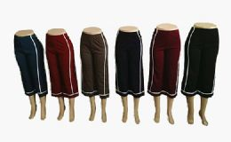 48 Units of Womens Loose Straight Solid Color Pants With Stripe - Womens Pants