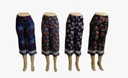 48 Units of Womens Loose Straight Floral Pants - Womens Pants