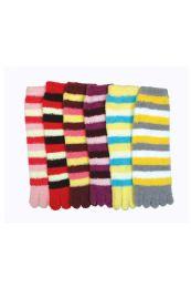 120 Units of Women's Striped Fuzzy Toe Socks Size 9-11 - Womens Fuzzy Socks