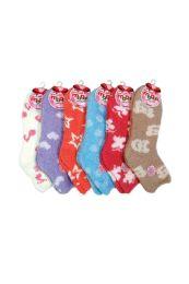 120 Units of Women's Patterned Plush Soft Socks Size 9-11 - Womens Fuzzy Socks