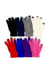 180 Units of Women's Assorted Color Touch Screen Texting Gloves - Winter Gloves