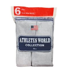 120 Units of Men's 6 Pair Pack Heather Grey Over The Calf Tube Sock, Size 10-15 - Mens Tube Sock