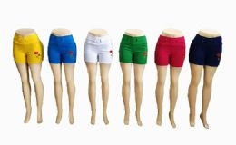 48 Units of Women Solid Color Short With Rose Assorted - Womens Shorts